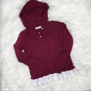 Abercrombie Kids Red Hooded Sweater w/ Lace 11/12